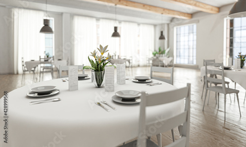 Obraz na plátně Wedding or restaurant room in bright loft-style with tables, white place setting