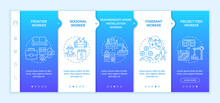 Migrant Workers Types Onboarding Vector Template. Responsive Mobile Website With Icons. Web Page Walkthrough 5 Step Screens. Immigrant Employees Color Concept With Linear Illustrations