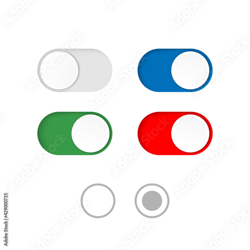 Tela On and Off toggle switch buttons isolated on a white background