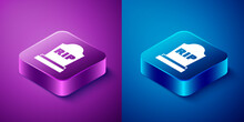 Isometric Tombstone With RIP Written On It Icon Isolated On Blue And Purple Background. Grave Icon. Square Button. Vector