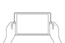 Man Holds A Tablet In His Hands. Blank Screen With Place For Your Text.
