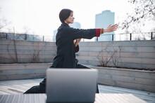 Woman Pushing Right Hand Forward During Wushu