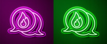 Glowing Neon Line Telephone With Emergency Call 911 Icon Isolated On Purple And Green Background. Police, Ambulance, Fire Department, Call, Phone. Vector