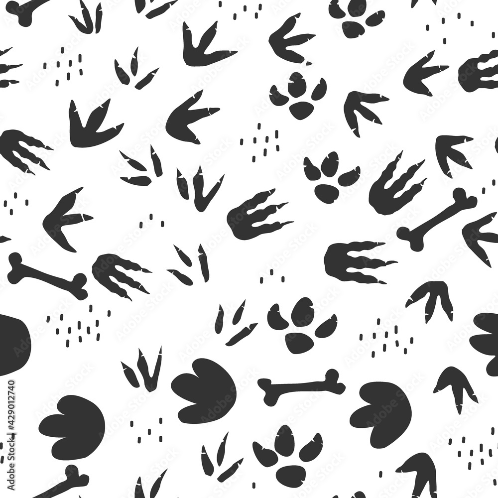 Dinosaur footprints seamless pattern. Background with dino feet steps traces. Jurassic animals path. Vector illustration for kids textile or floor mats