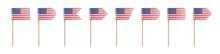USA Toothpick Flags Isolated On A White Background. Decoration For Independence Day 4th July.