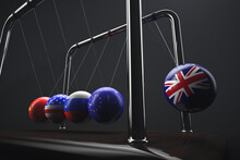 Newton's Cradle. Balls With State Symbols: Great Britain, European Union, Russia, USA, China