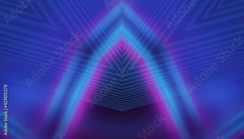 Obraz na płótnie Empty dark abstract background with ultraviolet geometric lines