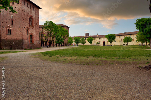 Fotomural View of the backside of he Ducale Palace in Vigevano city centre (Lombardy Region, Northern Italy)