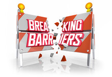 Breaking Barriers Smash Through Obstacles Achieve Goal 3d Illustration