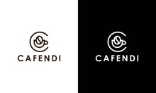 Letter C For Coffee Logo Design Vector Template With Vintage Concept Style. Beverage Products For Coffee Shop, Cafe, Coffee House, Coffee Maker, Company And Business.