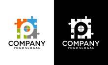 Letter P Puzzle Logo Design Element