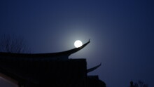 The Beautiful Moon Night View With The Round Moon And Classical Chinese Architecture As Background