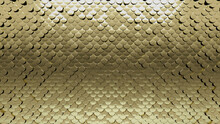 Luxurious, 3D Wall Background With Tiles. Fish Scale, Tile Wallpaper With Gold, Polished Blocks. 3D Render