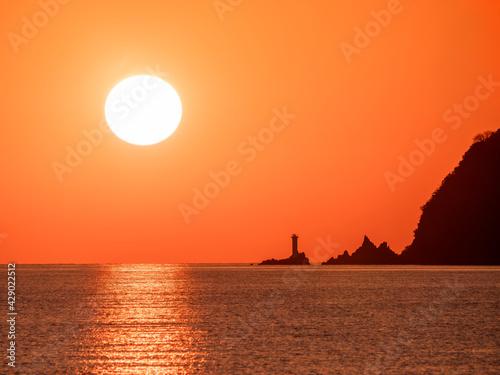 山口県光市室積海岸からの夕陽 Fototapete