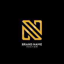 N Letter Gold Monogram Logo Design