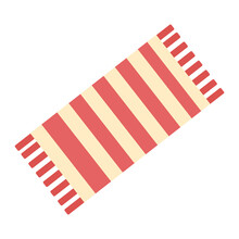 Beach Towel In Red And Beige Stripes On A White Background