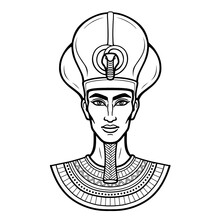 Animation Portrait Egyptian Man N The Crown. Vector Illustration Isolated On A White Background. Print, Poster, T-shirt, Tattoo.