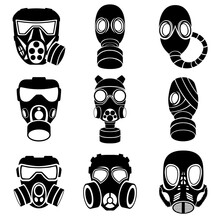 Images Of Nine Different Gas Masks Isolated On A White Background.