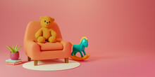 Colorful Background And Copy Space With Cute Teddy Bear For A Baby Shower 3D Rendering