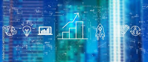 Business growth analysis with downtown skyline - fototapety na wymiar
