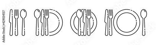 Fototapeta Cutlery icon. Set of fork, knife, spoon. Tableware icon. Logotype menu. Set in flat style. Silhouette of cutlery. Vector obraz