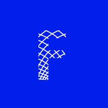 Letter F With Texture Of Curved Lines That Form A Lattice