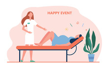 Cartoon Midwife Helping Woman Giving Birth. Flat Vector Illustration. Woman Going Through Contractions, Preparing For Childbirth In Hospital. Medicine, Childbirth, Happy Event, Delivering Baby Concept