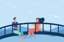 Happy Couple Sitting On Bridge Together Flat Vector Illustration. Cartoon Man And Woman Enjoying Nature Landscape With Seagulls In Sky And Mountains On Background. Love, Recreation, Nature Concept
