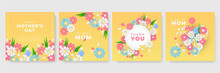 Set Of Mother's Day Pink Yellow White Blue Green Greeting Cards With Paper Cut Flowers And Typography. Suit For Social Media Post And Stories. Can Be Used For Creative Universal Template