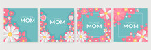 Mother's Day Pink Green Purple White Yellow Greeting Card With Flowers Background. Mothers Day Holiday Banner. Spring Floral Vector Illustration. Greeting Realistic Cherry Flowers Card Template
