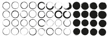 Mega Vector Set Of Grunge Circle Brush Vector Illustration