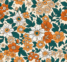 Vintage Seamless Floral Pattern. Liberty Style Background Of Small Golden Orange Flowers. Small Flowers Scattered Over A White Background. Stock Vector For Printing On Surfaces. Realistic Flowers.