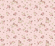 Cute Seamless Vector Floral Pattern. Endless Print Made Of Small White Flowers. Summer And Spring Motifs. Light Pink  Background. Stock Vector Illustration.