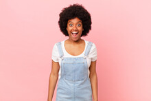 Afro Black Woman Looking Very Shocked Or Surprised, Staring With Open Mouth Saying Wow