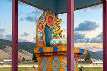 A Colorful Figurine Of Yum Chenmo, Or Prajnaparamita, The Great Mother In Buddhism Culture At The Garden Of One Thousand Buddhas In The City Of Arlee, Montana, USA