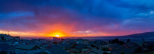 Panoramic Sunset View Above A Hilltop Subdivision Over The Cities Of Liberty Lake, Spokane Valley And Spokane, Washington, USA, At Early Spring.