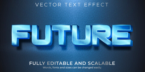 Metallic future text effect, editable shiny and elegant text style