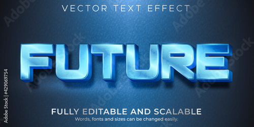 Metallic future text effect, editable shiny and elegant text style - fototapety na wymiar