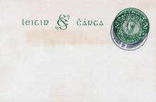 Briefumschlag Envelope Vintage Retro Alt Old Irland Ireland Eire Letter Card Post Mail Brief Harfe Harp Green Grün Papier Paper Fleckig Flecken Dirty Dirty Spot Smudge 1936 2 Dublin