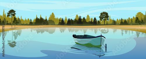 Obraz na plátně Lake boat in sunrise fog