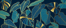 Luxury Background With Palm Leaves And Golden Texture. Line Art Botanical Vector Illustration. Natural Design.