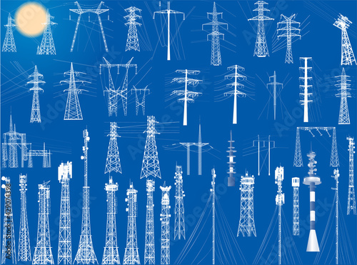 group of white antenna towers on blue Wallpaper Mural