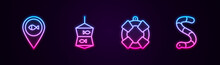 Set Line Location Fishing, Fishing Net With, Lifebuoy And Worm. Glowing Neon Icon. Vector