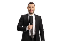 Male Tv Presenter Holding A Microphone