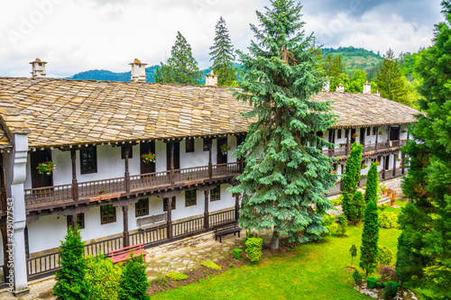 Fotografia, Obraz view of an inner courtyard of the famous troyan monastery in Bulgaria