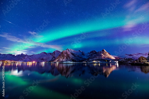 Polarlichter am Himmel von Norwegen - fototapety na wymiar