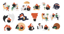 Vector Flat Style Modern Illustrations Therapy With A Psychologist