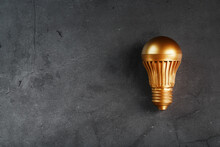 Light Bulb From Gold On Black Stone Concept Of A Profitable Idea.