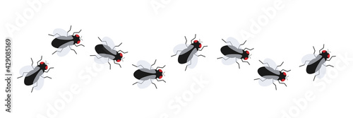 Fly insect icon set Fotobehang