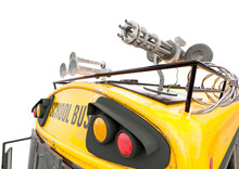 Close Up On Minigun Of The Zombie Bus In White Background